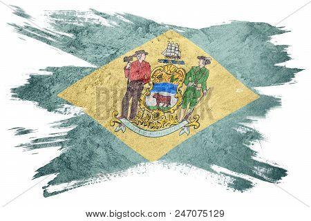 Grunge Delaware State Flag. Delaware Flag Brush Stroke.