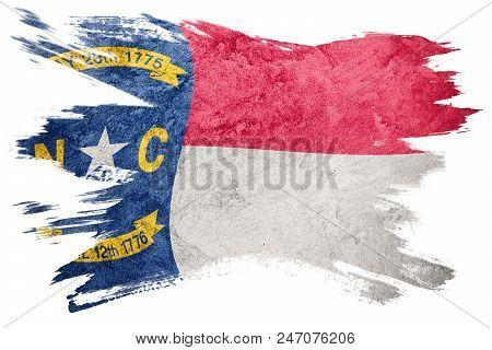 Grunge North Carolina State Flag. North Carolina Flag Brush Stroke.