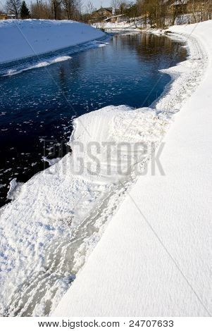 River In Winter And Passing Ice Pieces And Rural Houses.