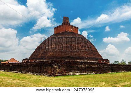 Jetavanaramaya stupa dagoba in the ruins of Jetavana in Anuradhapura - the sacred world heritage city, Sri Lanka poster
