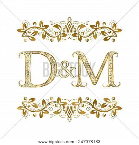 D And M Vintage Initials Logo Symbol. The Letters Are Surrounded By Ornamental Elements. Wedding Or