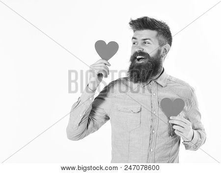 Valentines Day Concept. Hipster In Love Celebrates Valentines Day Or Sends Valentine Cards Isolated