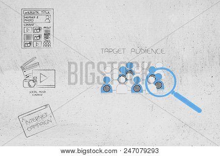 Marketing Segmentation And Targeting Conceptual Illustration: Digital Contant Next To Magnifying Gla