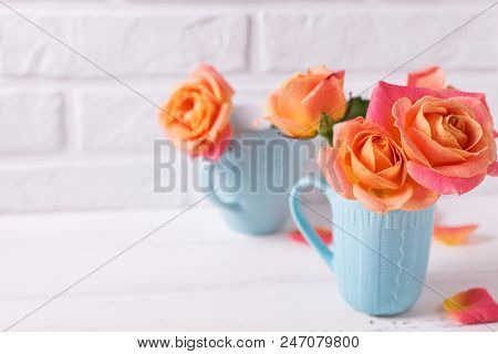 Fresh Orange Roses In Blue Cups On White Wooden Background Against White Brick Wall. Place For Text.
