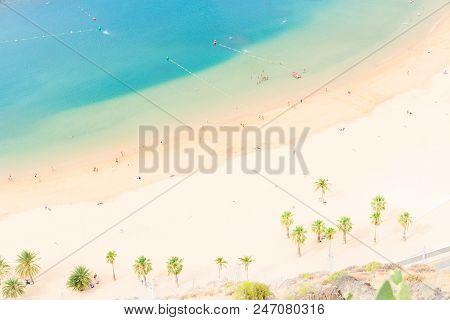 Aerial Birdeye View Of Las Teresitas White Sand Beach, Tenerife Island, Canarias