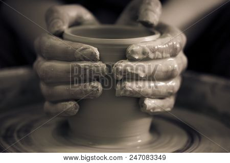 Creating Ceramic Products Of White Clay Close-up.