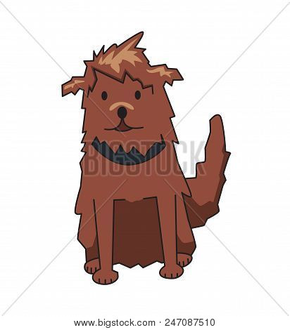 Shaggy Cur Pet With Collar, Front View. Funny Smiling Shaggy Dog Cartoon Character. Flat Vector Illu