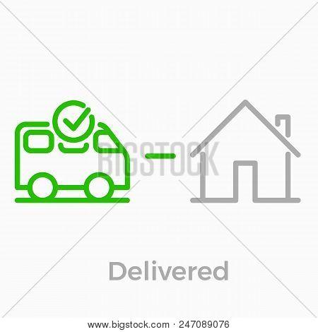 Order Delivery And Logistics Line Icon For Online Shop Web Design. Vector Symbol Of Order Delivered