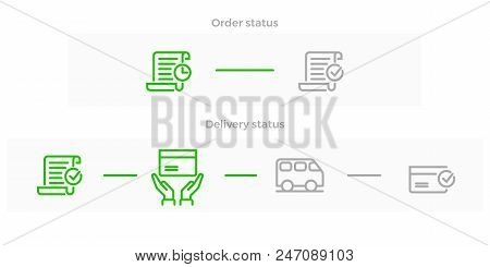 Order Delivery And Logistics Line Icon For Online Shop Tracking Web Design. Vector Symbols Of Order