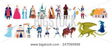 Collection Of Cute Funny Male And Female Characters And Items And Monsters From Medieval Fairytale O