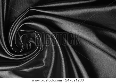 Luxurious Black Satin Fabric, Abstract Swirls And Folds