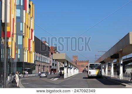 Aalst, Belgium, 27 June 2018: View Of The Main Bus Terminus In Aalst, East Flanders, Situated Next T