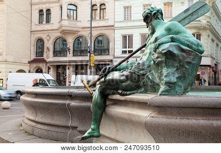 Vienna, Austria - November 4, 2015: Statue Of Donnerbrunnen Or Providentia Fountain Designed By Geor
