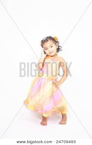 Cute asian girl posing on isolated white background