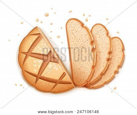 Rye round dark bread. Realistic loaf. Baking healthy food. Flour product for eating. Bake ration. Isolated white background. EPS10 vector illustration. poster