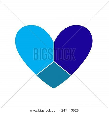 Heart Icon. Heart Vector. Blue Heart Isolated On White Background. Logo Patchwork Heart Three Blue T