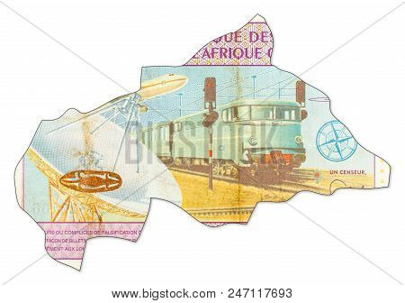 10000 Central African Cfa Franc Bank In Shape Of Central African Republic