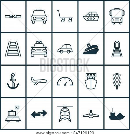 Shipping Icons Set With Ship Hook, Helicopter, Railway And Other Ship Elements. Isolated Vector Illu