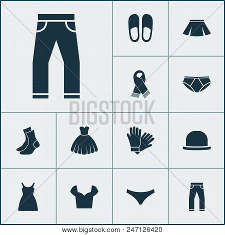 Dress Icons Set With Blouse, Dress, Fedora And Other Sarafan Elements. Isolated  Illustration Dress