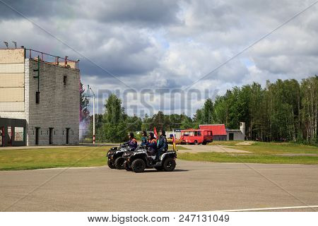 NOGINSK, RUSSIA - JUNE 06, 2018. Parade of rescue equipment. International exhibition Complex Safety 2018. Noginsk Rescue Center, Moscow region, Russia
