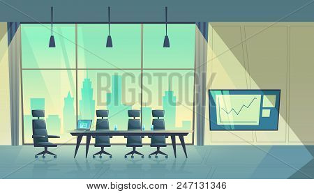 Vector Cartoon Illustration Of Modern Conference Hall, Room For Meetings And Business Trainings, Int