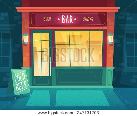 Vector Cartoon Background With Bar At Night. Facade Of Building For Public Catering, Exterior Of Bee