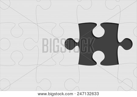 One Grey Background Puzzle Piece. Jigsaw Puzzle Banner. Vector Illustration Template Shape. Abstract