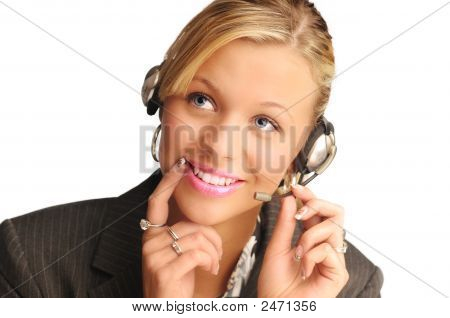 Young Pretty Sexy Blond Hair Operator With Headset