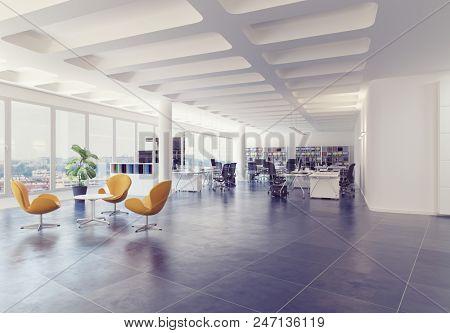 modern loft office interior. 3d rendering concept
