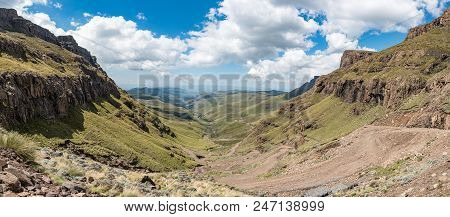 The Hairpin Bends In The Sani Pass On The Border Between South Africa And Lesotho