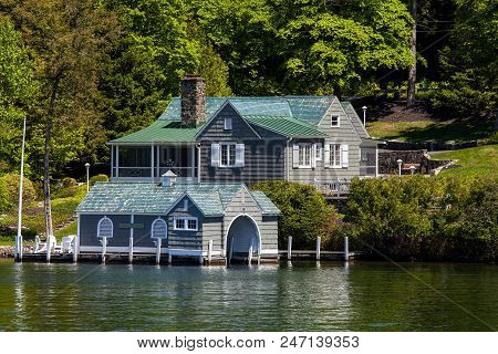 A Beautiful House On The Shores Of Lake George In New York