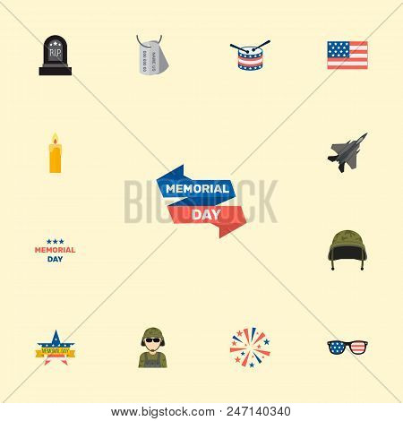 Set Of Day Icons Flat Style Symbols With Army Tag, Drum, Candle Icons For Your Web Mobile App Logo D