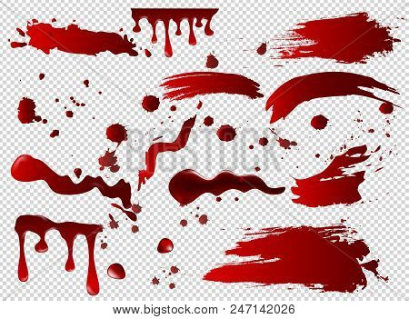 Vector Illustration Set Of Blood Spots, Smears, Spilled Red Paint, Paint Splatters. Halloween Concep