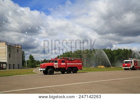 Noginsk, Russia - June 06, 2018. Fire Trucks During The Parade Of Rescue Equipment. International Ex