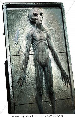 Alien Prepared For An Autopsy 3d Illustration