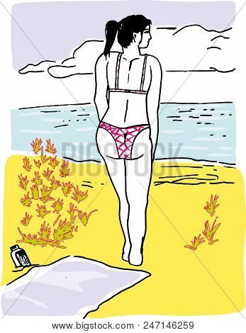 Girl In The Beach.  Illustration Of Young Girl Walking Around Seaside In The Beach.