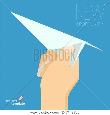 Flat Design Vector Hand With Paper Plane Icon. Mock Up For Application Interface, Presentation And W