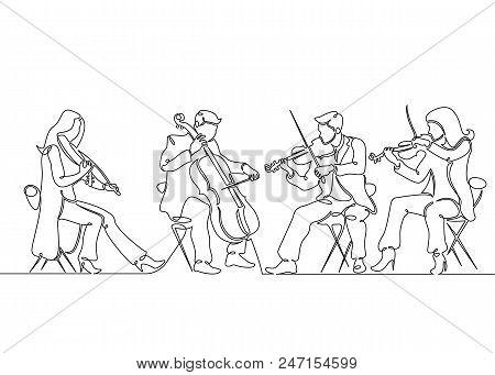 Continuous One Single Line Drawn Musical Quartet Violin Musicians. Classic Music, Musician, Art, Ins