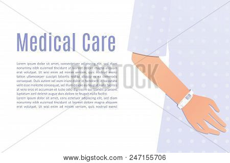 Hand Of A Patient In A Hospital Robe Wearing A White Patient Identification Bracelet. Stock Vector I