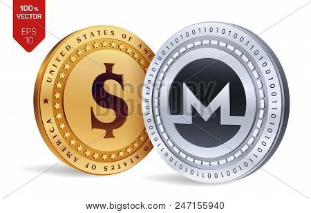 Monero. Dollar Coin. 3d Isometric Physical Coins. Digital Currency. Cryptocurrency. Golden And Silve