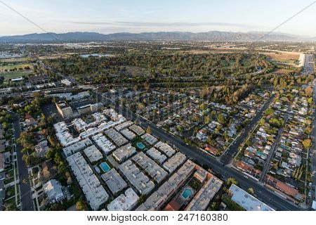 Afternoon aerial view towards the Sepulveda basin in the Encino area of the San Fernando Valley in Los Angeles, California.