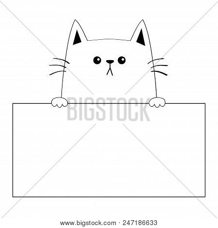 Cat Head Face Silhouette Hanging On Paper Board Template Paw Hands Contour Line