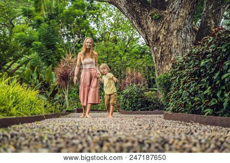 Mother and son Walking On A Textured Cobble Pavement, Reflexology. Pebble stones on the pavement for foot reflexology. poster
