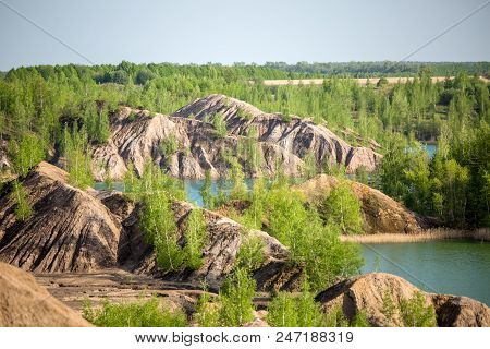Picture Of Picturesque Hilly Terrain And River In Summer Day