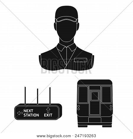 Metro, Subway Black Icons In Set Collection For Design.urban Transport Vector Symbol Stock  Illustra