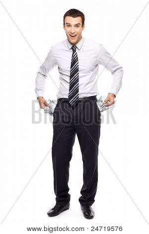 Businessman taking money from his pockets