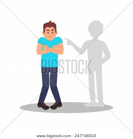 Man Afraid Of His Own Shadow Or Ghost. Portrait Of Stressed Young Guy. Cartoon Male Character With F