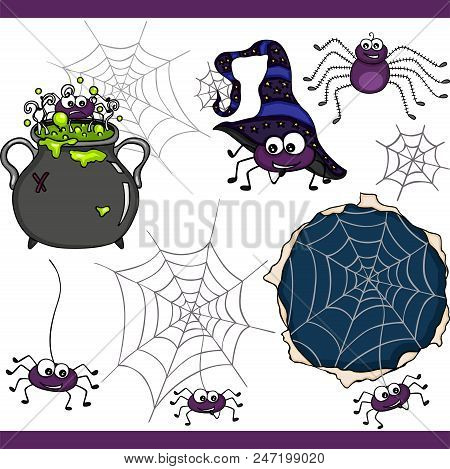 Scalable Vectorial Representing A Halloween Spider Set Digital Elements, Illustration With Elements