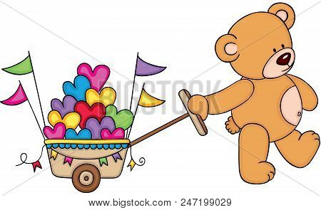 Scalable Vectorial Representing A Teddy Bear Pushing Cart Full Of Hearts, Element For Design, Illust