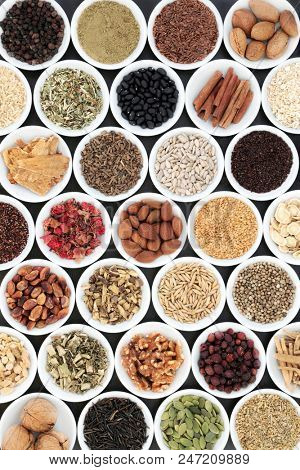 Super food for a healthy heart including herbs and spices used in chinese and ayurvedic herbal medicine.